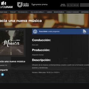 Programa «Hacia la nueva música» en Radio UNAM